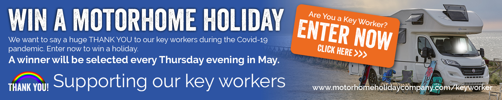 Key worker competition banner to win a motorhome holiday